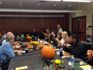 Faculty and students enjoy Halloween lunch